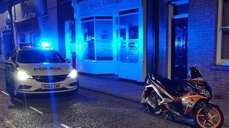 Officers seized a motorbike being driven without insurance outside Spice Lounge in Chatteris. Pictur