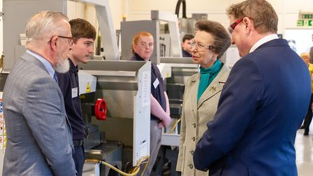 HRH Princess Anne met apprentices at Stainless Metalcraft during a visit in 2019. Picture: SUPPLIED