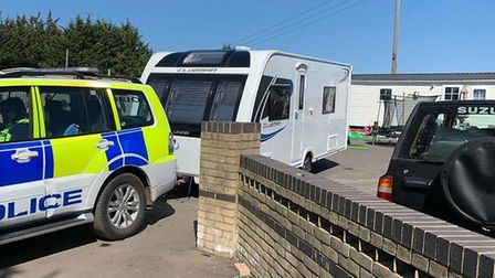 Stolen caravans were recovered by Cambridgeshire police during a Sunday morning raid on Smithy Fen t