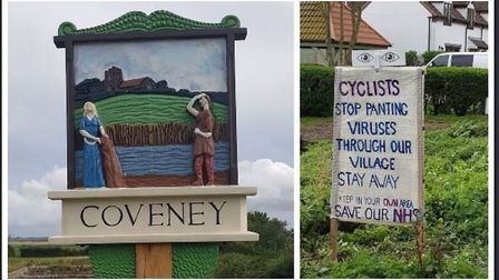 Cyclists urged to 'stay away' from Coveney near Ely. The sign has provoked a mixed response. Picture