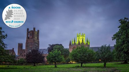 Ely Cathedral wins national environment award. The cathedral's octagon lit green during a performanc