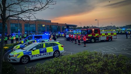 Cambridgeshire police officers and firefighters joined forces to clap for our carers outside Peterbo