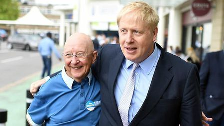 Alan Bristow, Fenland and Whttlesey councillor, whose death was announced today. Pictured with Boris