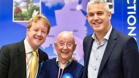 Paul Bristow (left) with dad Alan (centre) and MP Steve Barclay. The photo was taken by Mr Barclay's