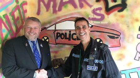 Police and crime commissioner Jason Ablewhite introduced Ely-based police sergeant Mark Rabel to a m
