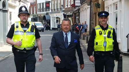 Police and crime commissioner Jason Ablewhite joining Cambridge City patrol. Picture; PCC