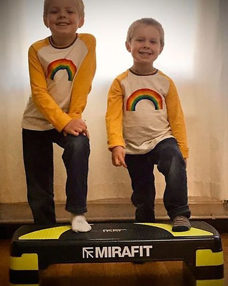 Adam and Elliot Brennand are using their mum's stepper to climb 978m up to the peak of Scafell Pike.