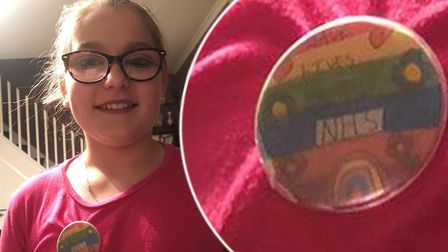 Kaydie, aged 11 from Chatteris, is selling her hand-made badges to raise cash for childrens wards in
