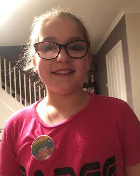 Kaydie, aged 11 from Chatteris, is selling her hand-made badges to raise cash for children's wards i