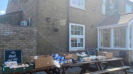 The Anchor Inn in Wimblington has been transformed into a free shop and takeaway service for those h