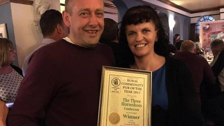 Caragh and Jim Urquhart who run the Three Horseshoes pub in Comberton. Picture: THE THREE HORSESHOES