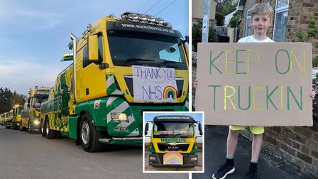 Manchetts Vehicle Recovery convoying through Burwell on Thursday, April 23 to say thank you to the N