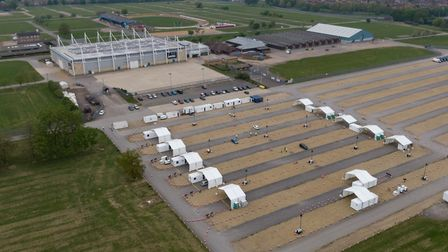 New coronavirus drive through testing facility opens at East of England showground, Peterborough. Th