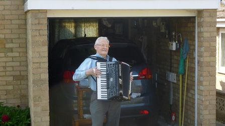 Stan Butcher, 90, entertains residents in Lansdowne Close in Ely every Sunday afternoon with music f