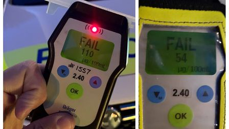 Officers arrested two drivers in Wisbech (left) and March (right) on suspicion of drink driving. Pic
