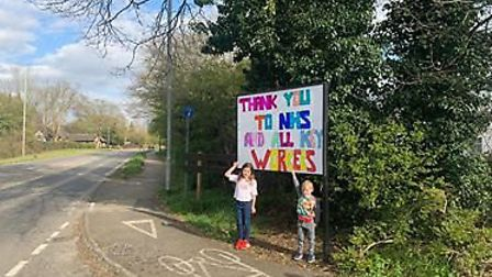 Children have played an extraordinary role in supporting the NHS - this spontaneous sign was put up