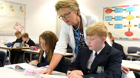 Mrs Digby with students at the Littleport & East Cambridgeshire Academy. Picture: SUBMITTED