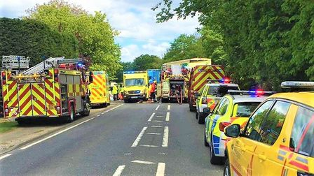 Huge emergency response to a crash on the A10 in Waterbeach. Picture: Twitter/@cambsfrs