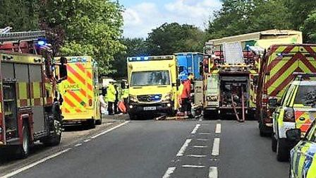The scene of a two-lorry crash on the A10 at Waterbeach where one driver has been rushed to hospital
