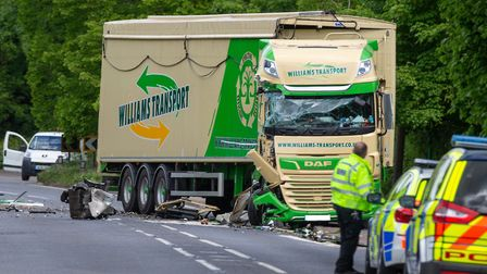 Shocking images show the scene after a bin lorry and large artic HGV collided on the A10 at Waterbea