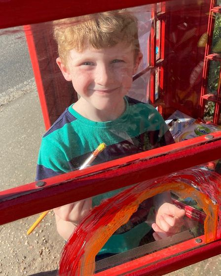 Painting rainbows in High Roding. Picture: Heidi Shubrook