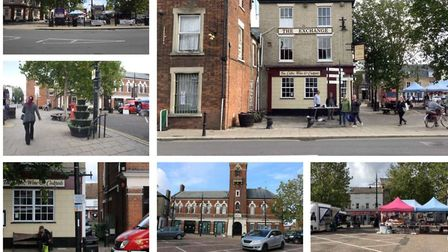 Illustrations of March, now and how it might look, form part of the bid by Fenland Council to the Go