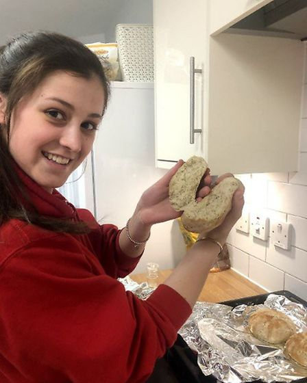 A student showing off her bread skills. Picture: Felsted School