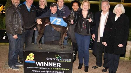 Editor John Elworthy recently presented a prize at the Peterborough greyhound stadium, which has ann