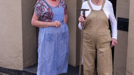 Mary Williams aged 97 wears her original Land Army issue dungarees at Great Bardfield's VE Day cele