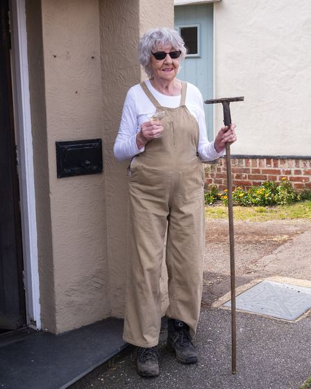 Mary Williams aged 97 who served in the Land Army, in her original Land Army issue dungarees. Pictur