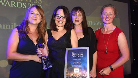 Fenland Business Awards 2019 family business of the year winner Abtec Industries Ltd with awards hos