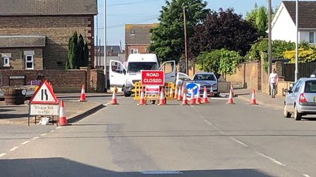 Orchard Street in Whittlesey is closed after a sink hole developed overnight. Picture: Eamonn Dorlin