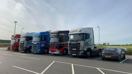 Chatteris to Peterborough HGV convoy is under way. All in aid of NHS charities. Picture; HARRY RUTTE