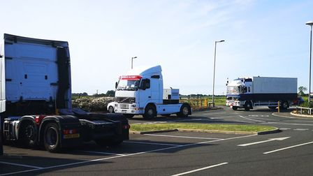 HGVs and van prepare for the NHS charity convoy from Chatteris to Peterborough. Picture; MARTYN JOLL