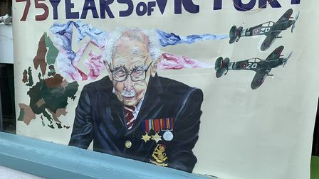 A picture painted by Katie Houghton on display in a Great Dunmow shop window for VE Day 2020. Pictur