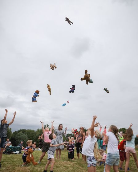Last summer's teddy bear's picnic Some bears flew higher than others. Picture: Celia Bartlett Photog