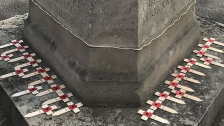 Twenty-five crosses were placed on the Great Dunmow War Memorial, one for every WW2 serviceman.Each