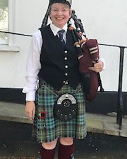 Jan Johnston played Battles Oer, a traditional air played at the end of battle on the Bagpipes. Pict