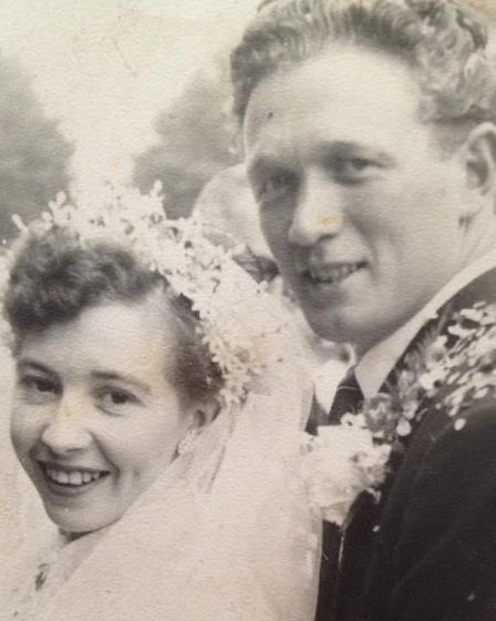 George and Domneva Gilbert on their wedding day 64 years ago. The couple are now back home after bei
