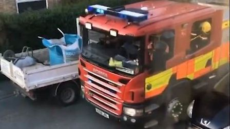 Shocking video shows Fenland firefighters being delayed getting to a blaze due to badly parked cars.