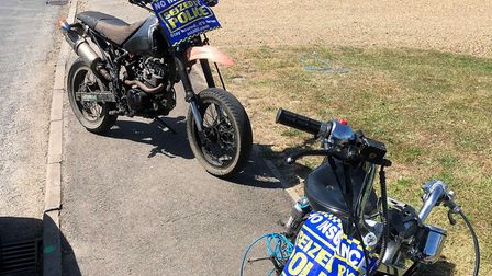 Two motorbikes caught towing each other were seized by police on Whittlesey Road, March. Picture: FA