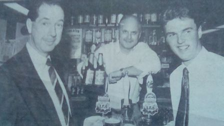 A newspaper clipping of Aythorpe Roding's Barry Hockley (right) after winning the August Ridleys/Ess