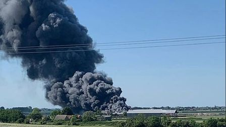 Fire has broken out at Pymoor near Ely with 40 firefighters at the scene. Picture; Ollie T Photograp