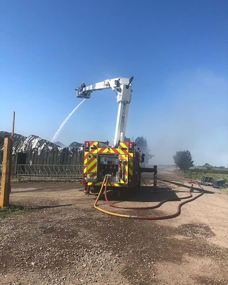 Photos released by Cambridgeshire fire and rescue of firefighters tackling a blaze at Corkers Crisps