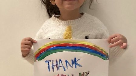 Melody Alinejad, aged four, supporting NHS heroes with her art. Picture: Submitted by family