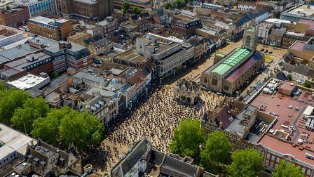 Drone footage of 700-800 at the BLM Black Lives Matter Rally Peterborough.City Centre, PeterboroughS