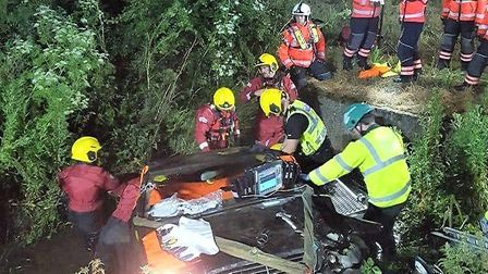 Three people escaped this crash at Earith Bridge without any serious injuries on Monday, June 8. Pic