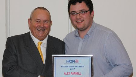 In 2018 presenter of the Year at the HCR awards night was Alex Parnell (right). With him is station