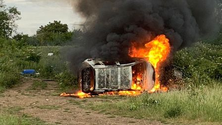 A torched car led Cambs Cops to the discovery of a stolen car, generator and two cannabis grows. Pic