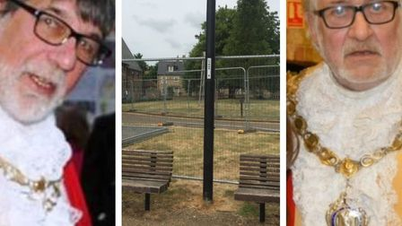 Former Ely mayor Richard Hobbs (left) has criticised the 'Berlin Wall' around the Maltings. The deci